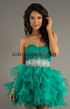 2014 new stunning beaded green tulle short prom dress damas dress for sweet 15 party_Dama Dresses_Cheap Quinceanera 15 Dresses 2014,15 dress...