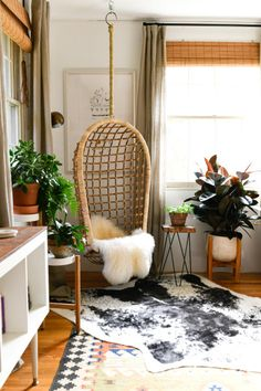 Erin Kelly Pittsburgh Craftsman Home Tour rattan hanging chair in a cozy bohemian living room This image has get. Bohemian Living Rooms, Cozy Living Rooms, My Living Room, Living Room Chairs, Apartment Living, Living Room Furniture, Living Room Decor, Bohemian Apartment, Decor Room