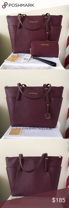Michael Kors Jet Set Tote large With Wallet Beautiful set and classic set! Wine/ plum color with gold hardware, lightly used. Authentic.  The Jet Set Tote shows minor wear on the hardware, please see pictures for detail. Overall in good condition.  Wallet is new with tags.  Measurement: 14*11*5 inch  Dust bag is included Michael Kors Bags Totes