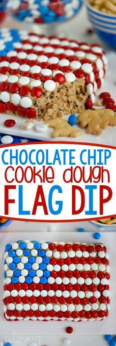 Celebrate with this outrageous Chocolate Chip Cookie Dough Flag Dip this 4th of July weekend! Edible chocolate chip cookie dough is loaded with toffee bits and peanut butter chips for the most delicious dip ever! Decorated in red, white, and blue, this easy dessert recipe is perfect for Memorial Day and Labor Day weekend as well! July 4th, 4th Of July Party, Fourth Of July Food, Brownie Desserts, Mini Desserts, 4th Of July Desserts, Holiday Desserts, Holiday Recipes, Just Desserts