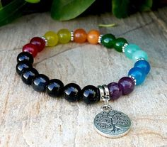 7 Chakra Bracelet, Tree of Life Charm Bracelet, Yoga Jewelry, Wrist Mala, Protection, Meditation, Healing, Energy, Balance, Rainbow Bracelet