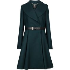 Ted Baker Laureol Flared Wool Blend Coat, Dark Green ($515) ❤ liked on Polyvore featuring outerwear, coats, jackets, coats & jackets, tops outerwear, ted baker, flared coat, ted baker coat, dark green coat and flare coat