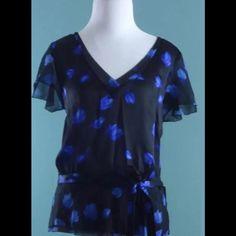 ANN TAYLOR Blue Black Floral Thin Silk Top Size M ANN TAYLOR Blue Black Floral Thin Silk Top Size M Ann Taylor Tops