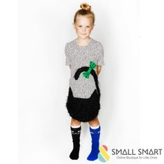 Bang Bang Copenhagen Dress | SmallSmart.co.uk    95% Viscose and 5% Spandex  Machine washable 30 degrees  Made from a soft cotton mix with a fluffy cat applique  A shaped soft t-shirt dress in soft pink and black dots with a black fluffy cat and green bow    #Cute #girlsfashion #styles #toddler #littleones #catclothes #style #ootd