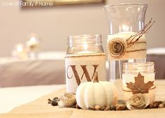 All of these would be simple and relativly cheap to make.  Rustic, Chic Fall Wedding Centerpieces or Sidepieces