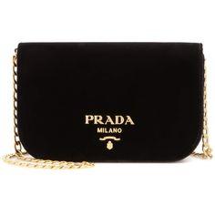 Prada Velvet Shoulder Bag (30,695 MXN) ❤ liked on Polyvore featuring bags, handbags, shoulder bags, black, shoulder bag handbag, prada purses, prada, shoulder handbags and shoulder hand bags