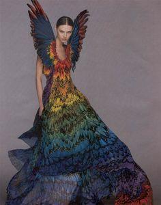 Little Paper Dresses: Alexander McQueen Rainbow Feather Dress