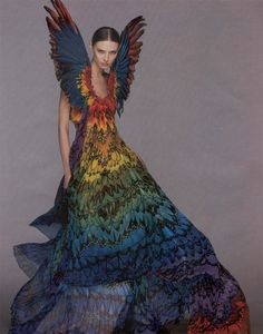 Another amazing rainbow dress by Alexander McQueen with WINGS @Offbeat Bride
