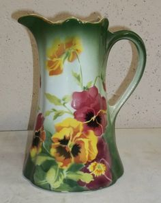 Vintage French faience style pitcher