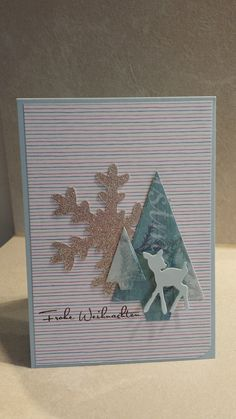 a Little bit of blue with Bambi Christmas Card, Kulricke dies