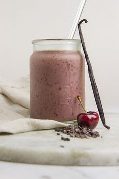 Not So Moody Maca Smoothie ~ Maca balances out your hormones, cacao provides magnesium to boost serotonin, sunflower seeds provides vitamin E and B6 to help ease tenderness, bloating and stress, cherries have melatonin to help sleep peacefully.