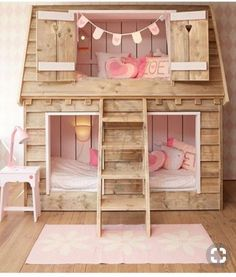 wooden shingle house bed for two girls is a super cozy idea Big Girl Rooms bed Cozy Girls House idea shingle super Wooden