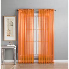 Window Elements Sheer Diamond Sheer Orange Rod Pocket Extra Wide