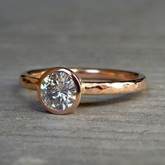 Engagement Ring - Moissanite and Recycled 14k Rose Gold, Made to Order - Eco-Friendly Diamond Alternative. $1,028.00, via Etsy.