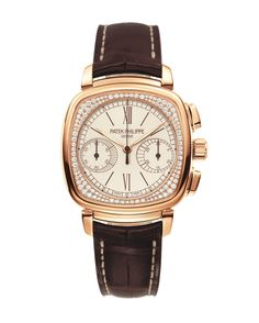 Patek Philippe Gondolo Ref 7071 is a glamorous way to wear a chronograph with 116 diamonds set under the glass on the shoulders of the case. The movement is mechanical and hand-wound.