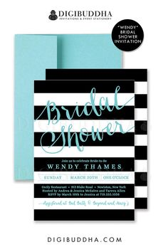 Black & white stripes bridal shower invitation with aqua blue turquoise details. Choose from ready made printed invitations with envelopes or printable bridal shower invitations. Silver shimmer envelopes also available. digibuddha.com