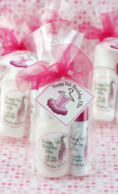 "Your ballerina needs special favors at her birthday party. These lotions and lip balms will pamper her guests and say ""thank you!"" Customize with her favorite flavors, fragrances, and colors."