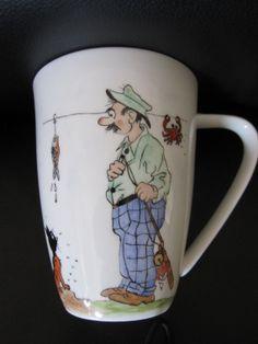 Tea cup/Coffee Mug Fishermen hand painted por TheChinaHutch en Etsy, $29.00