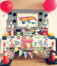 Hot Wheels Birthday Party Dessert Table | Black Twine | The Party Porch