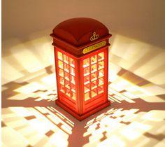 Creative USB Touch Sensor Telephone Booth LED Night Light Table Lamp