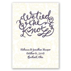 We Tied The Knot Wedding Or Elopement Announcement Your Photo Goes On