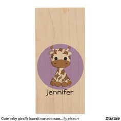 Cute baby giraffe kawaii cartoon name kids wood flash drive