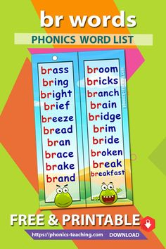 br words - Consonant Blend Word List for the br sound with pictures - FREE & Printable - Ideal phonics practice for older kids. Will make your phonics instruction more memorable Phonics Lessons, Phonics Words, Phonics Worksheets, Spelling Words, English Lessons For Kids, Learn English Words, Phonics Sounds Chart, Teaching Vowels, Phonics Blends