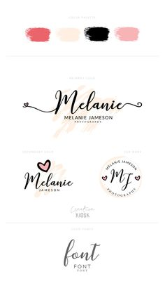 Professional Photography Logo Set. Instant Download Logo Set. Premade Blog Logos. Free Fonts. Cute Heart Watermark. PSD Templates. #0563.