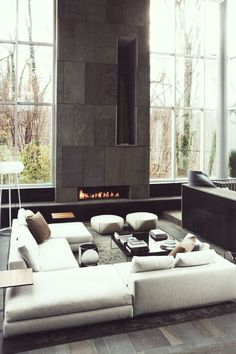 Love the verticality of this fireplace wall, with a horizontal fire in the bottom.