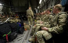 Kingsmen from Burma Company, 1st Battalion the Duke of Lancaster's Regiment (1LANCS) onboard an RAF C-17 Globemaster aircraft beginning their journey back to the UK from Afghanistan.