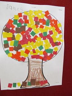 Fall mosaic: construction paper square 'leaves'