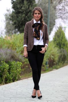 `3/4 brown jacket, white shirt, black leggings but use a tied scarf with more vibrant color