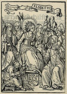 Hans Burgkmair the Elder (1473 - 1531): St Elizabeth of Hungary spinning; wearing a crown and seated on a pedestal with a coat of arms, surrounded by a group of women all holding spindles. Illustration to Johann Geiler von Kaisersberg, 'Das Buch Granatapfel', Augsburg: J. Otmar, 1510.