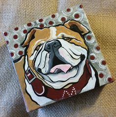 """Painted MSU Bulldog on 4"""" x 4"""" Canvas by VickisWorksofHeart on Etsy Ms State University, Bulldog Drawing, State Canvas, Christmas Paintings On Canvas, Bulldog Mascot, Mississippi State Bulldogs, Ole Miss, Auburn Tigers, Fight Fight"""
