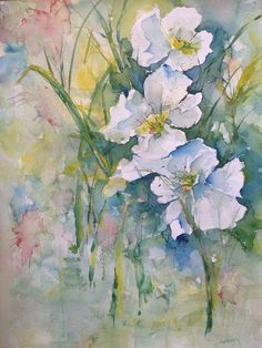 Watercolor Flowers Robin Miller-Bookhout www.fineartamerica.com