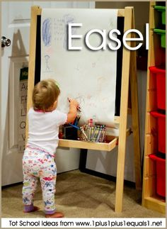 IKEA easel with crayons