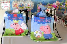 Fun favor bags at a Peppa Pig birthday party!   See more party ideas at CatchMyParty.com!