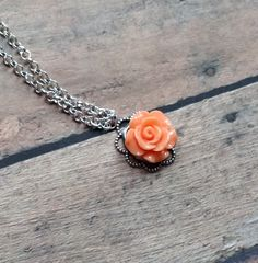Antique Peach Rose Necklace, Flower Girl Jewelry, Flower Girl Gift, First Communion Jewelry, Recital Gift, Birthday Gift, Bridesmaid Gift by JewelsbyRosies on Etsy