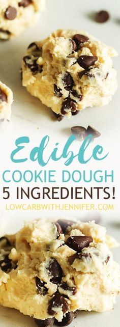 An easy 5 ingredient recipe for delicious edible chocolate chip cookie dough! This cookie dough is flour free and sugar free! #lowcarbrecipes #ketorecipes #keto #ketodiet