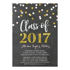 #party - #Chalkboard Pink Gold Confetti Graduation Party Card