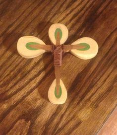 Cross made from piano parts