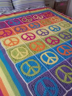 """My """"Peace, Love & Granny Afghan""""...it was a lot of work but I'm really happy with how it turned out!"""