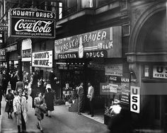 View of pedestrian traffic on Fifth Street Cincinnati Ohio 1945 Among the visible buisinesses are a USO hall Howatt Drugs and Morrow's Nut House. Cincinnati Museum, Moving To California, Pedestrian, Historical Photos, New Image, Over The Years, Ohio, Street, City