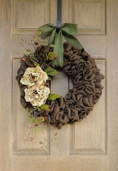 Brown Burlap Wreath with Beige Peony flowers--Brown Burlap Wreath--Burlap Wreath--Year Round Burlap Wreath