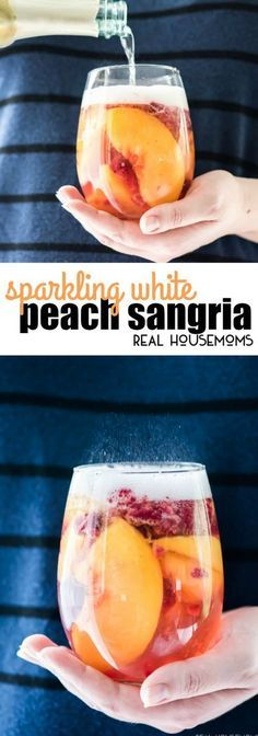 Sparkling White Peach Sangria is a great make ahead brunch or summer cocktail that tastes fantastic! via Sparkling White Peach Sangria is a great make ahead brunch or summer cocktail that tastes fantastic! via Real Housemoms Peach Sangria Recipes, White Peach Sangria, Cocktail Recipes, Best White Sangria Recipe, White Wine Sangria, Peach Strawberry Sangria Recipe, Simple Sangria Recipe, Peach Juice, Cocktail Ideas