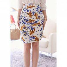 Cotton Blend Floral Print Retro Style High-Waist Skirt For Women