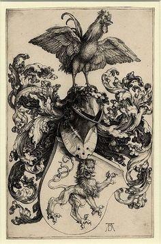 Albrecht Dürer - Les armoiries au coq - Wapenschild met haan - likely an etching from the century or more recent. Albrecht Durer, Renaissance Kunst, Illustration, Art Institute Of Chicago, Art Graphique, Canvas Prints, Art Prints, Canvas Art, Coat Of Arms
