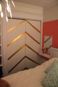 DIY golden chevron duct tape closet