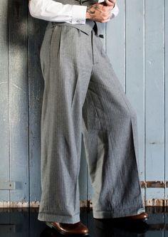 The 'Ritz' Oxford Bags - Grey Herringbone