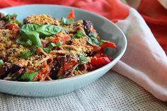 Eggplant & Roasted Red Pepper Spaghetti